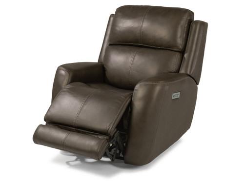 Zelda Leather Reclining Sofa- Dark Brown