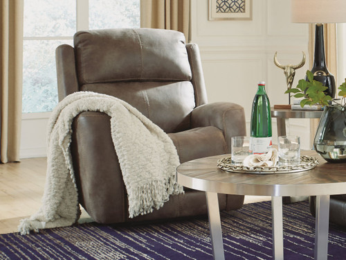 Zelda Leather Power Recliner Light Brown Fabric. Power Headrest. Power Lumbar. 2 Leather color options or 1 Fabric option.