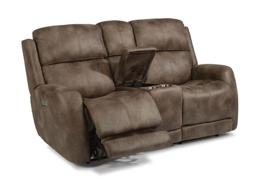 Zelda Fabric  Power Reclining love seat with console. Power Headrest. Power Lumbar. 2 Leather color options or 1 Fabric option.