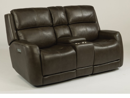 Zelda Leather Power Reclining Love Seat with storage Console. Power Headrest. Power Lumbar. 2 Leather color options or 1 Fabric option.