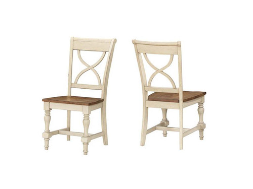 Torrence X-Back Side chair available in Grey and Antique White or Black and Cherry Pictured : Devonshire chair in Honey and Antique White.