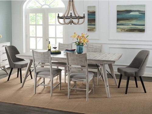 Modern Rustic Table and chairs in weathered white finish. Rustic distressed top. Soild hardwood