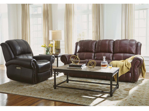 Patton Leather Reclining group : 3rd generation with power recline, power adjustable headrest and power adjustable lumbar support