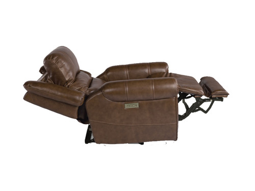 Oscar Power Reclining Lift Chair with adjustable headrest and lumbar. Shown in Medium Brown High Performance Fabric