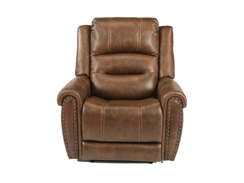 Oscar Power Reclining Lift Chair with adjustable headrest and lumbar. Shown in Leather