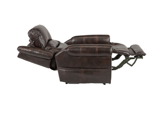 Oscar Power Reclining Lift Chair with adjustable headrest and lumbar. Shown in Dark Brown High Performance Fabric