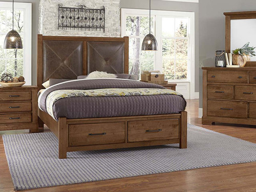 Leather Panel Bed with Storage Footboard. Amber finish pictured