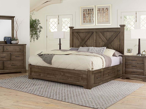 Cool Rustic X Panel Bed with Storage Rails (3 color options)