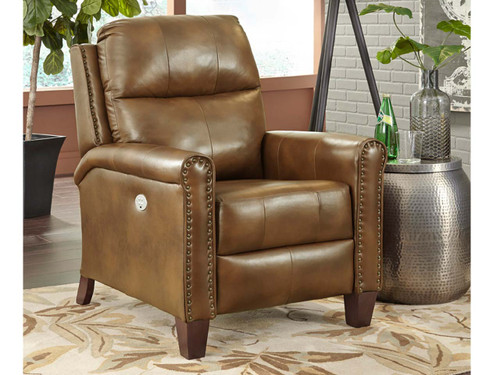 Pep Talk Power Recline, Power Headrest and Power Lumbar.  Shown in Leather with nail head. Custom order in 400 fabrics and colors available.