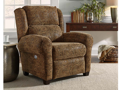 Merrick Power recliner with Massage, heat, adjustable power lumbar and headrest features. Can be custom ordered in fabric or leather.