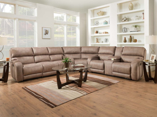 Power reclining sectional pictured in leather. Available with or without Massage, heat, adjustable power lumbar and headrest features. Can be custom ordered in fabric or leather.