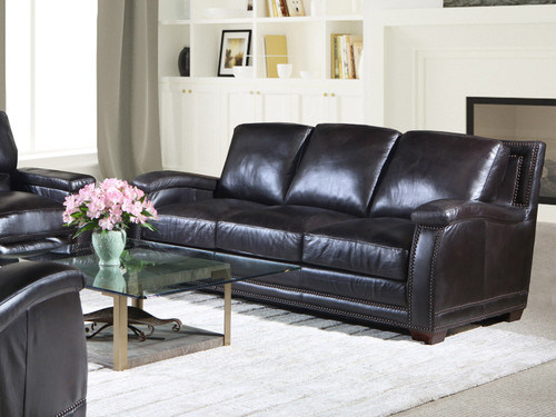 Close up of Sofa. 8250 Collection Available as Sofa, Love Seat, Chair, Ottoman, or Power Recliner. All leather.  Hand crafted in Utah