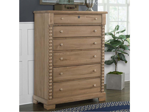 Tall chest with turned post sides in Natural finish