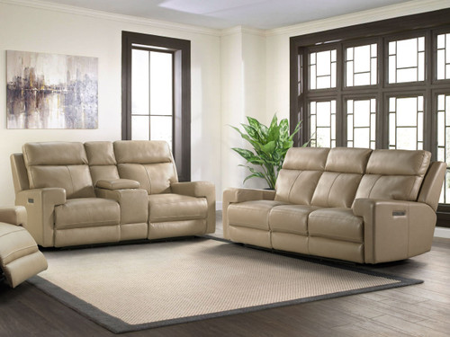 Solana Power Reclining Sofa in Moon mist color. Power headrest and power lumbar. Available as sofa, love seat and reclining chair in your choice of 2 colors: Tan or gray