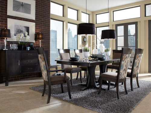 Loft Dining table -Express and Quick Ship options available. Shown in Charcoal stain on Maple