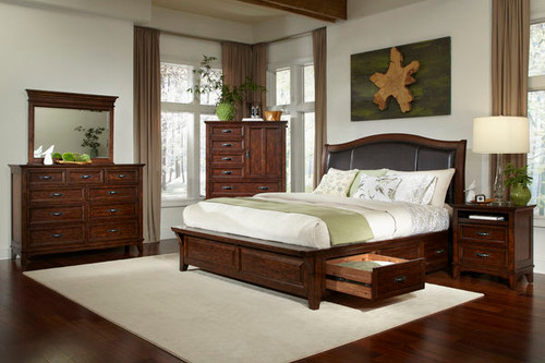 Star Valley Upholstered Bed comes available with Storage Rails or standard Rails