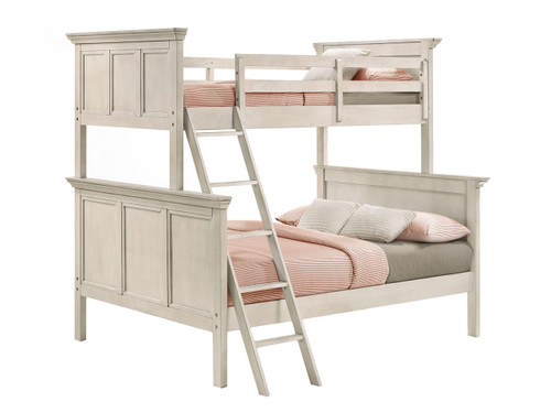 San Mateo  Youth Antique White Twin over Full Bunk Bed. Available colors: Antique White, Tuscan Brown or Gray