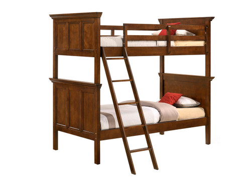 San Mateo Youth Tuscan Brown Twin over twin Bunk Bed. Available colors: Antique White, Tuscan Brown or Gray
