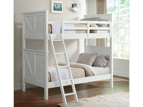 Tahoe Bunkbed shown in Sea Shell (white) Finish. Twin over twin bed. Also available Twin over full