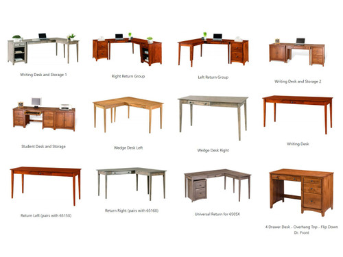 Several Modular desk configuration options. All Made of Solid alder wood in the USA