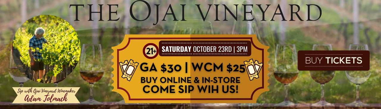 Come to Sip with The Ojai Vineyards' winemaker & aficionado, Adam Tolmach, on #SippinSaturday, October 23, 2021 from 3 PM - 6 PM at Holiday Wine Cellar!