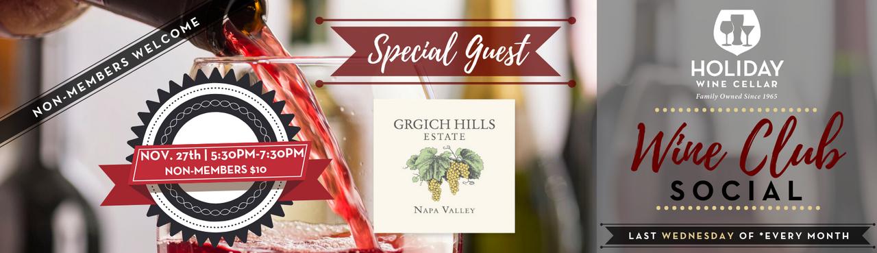 Wine Club Social w/ Special Guest Grgich Hills on 11/27