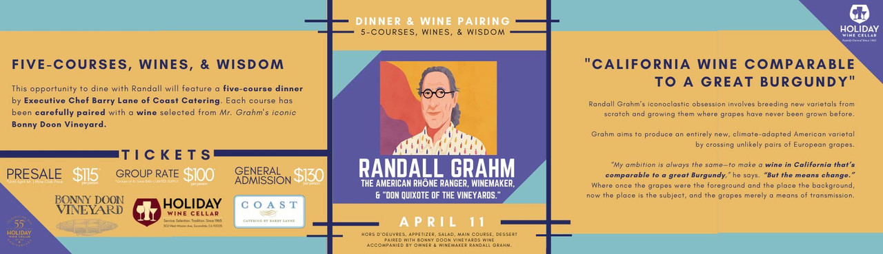 Five-Course Winemaker Dinner with Randall Grahm April 11th