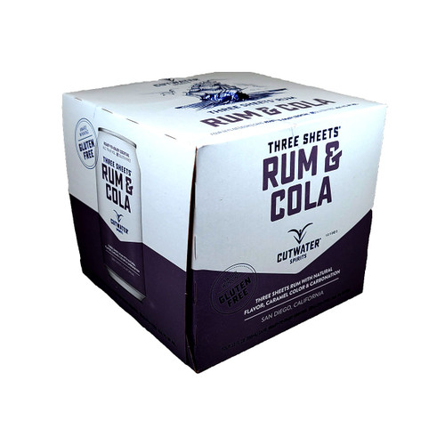 Cutwater Three Sheets Rum & Cola Ready-To-Drink 4-Pack Can