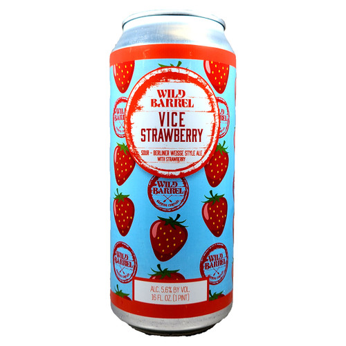 Wild Barrel Vice Strawberry Berliner Weisse Style Sour Ale Can