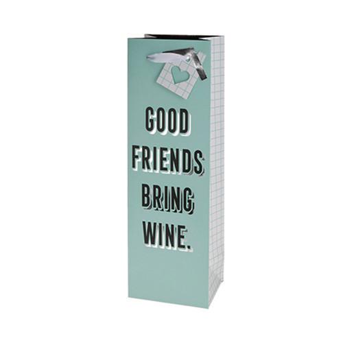 Good Friends Bring Wine Single Bottle Wine Bag