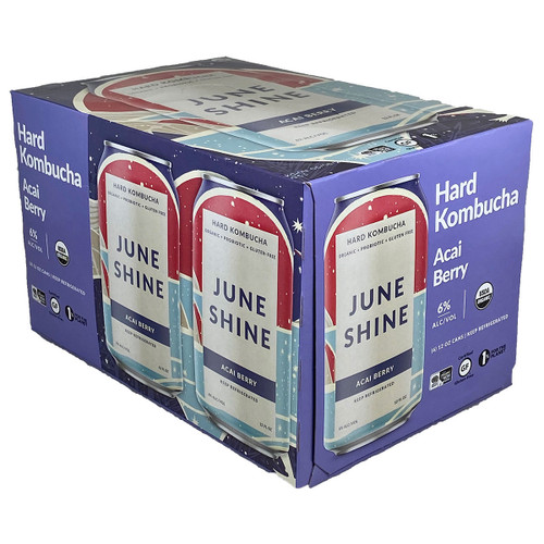 JuneShine Acai Berry Kombucha 6-Pack Can