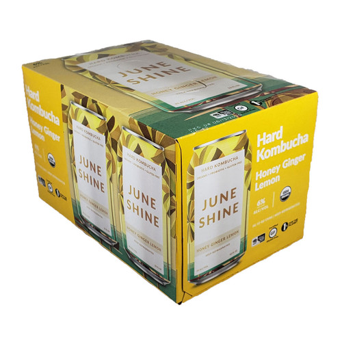 JuneShine Honey Ginger Lemon Kombucha 6-Pack Can