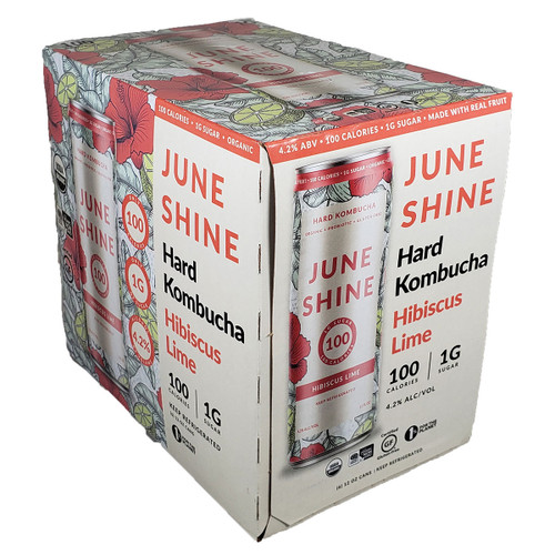 JuneShine 100 Hibiscus Lime Kombucha 6-Pack Can