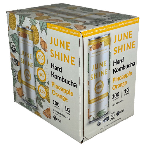 JuneShine 100 Pineapple Orange Kombucha 6-Pack Can