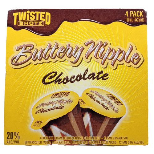 Twisted Shotz Chocolate Buttery Nipple Shot 4-Pack