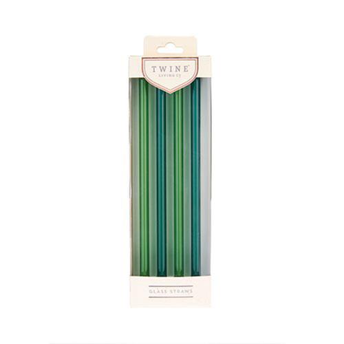 Woodland Green Glass Straws Set of 4