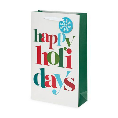 Happy Holidays Two Bottle Gift Bag