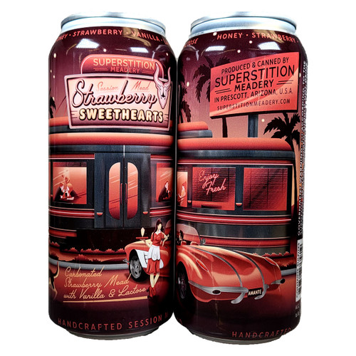 Superstition Strawberry Sweethearts Carbonated Strawberry Mead Can