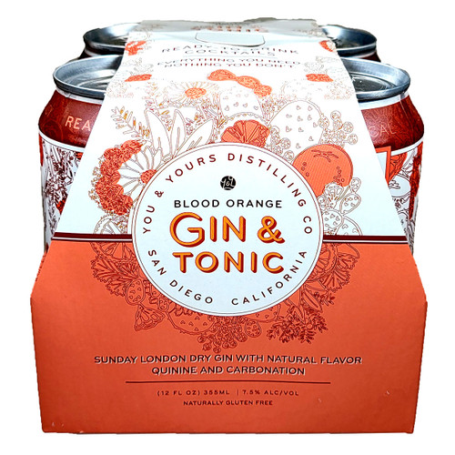 You & Yours Blood Orange Gin & Tonic Ready-To-Drink Cocktail 4-Pack Can
