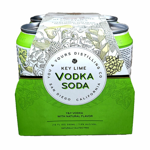 You & Yours Key Lime Vodka Soda Ready-To-Drink Cocktail 4-Pack Can