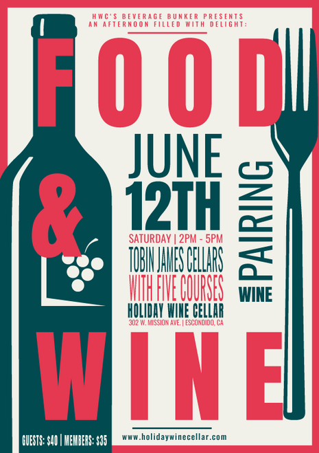 Tobin James 5 Course Wine Pairing (June 12th, 2021) General Admission