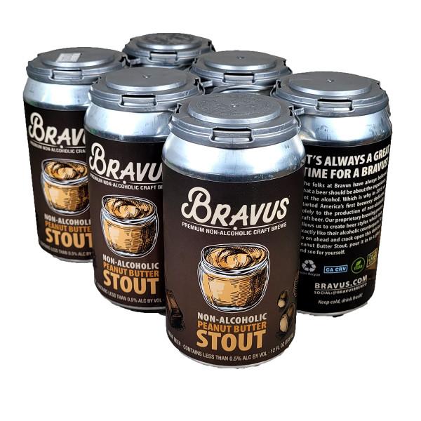 Bravus Non-Alcoholic Peanut Butter Stout 6-Pack Can, 12OZ