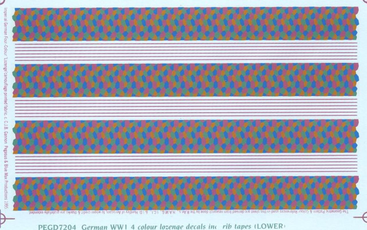 Pegasus German WWI 4 colour lozenge inc. rib tapes (LOWER) Decals 1:72