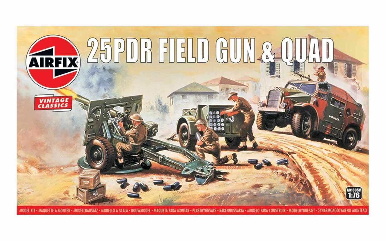 Airfix A01305V-Vintage Classics - 25pdr Field Gun & Quad 1:76 Scale