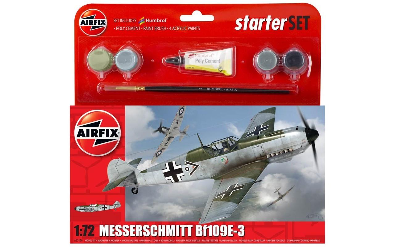Airfix A55106 Messerschmitt Bf109E-3 Starter Set 1:72 Scale Model Kit