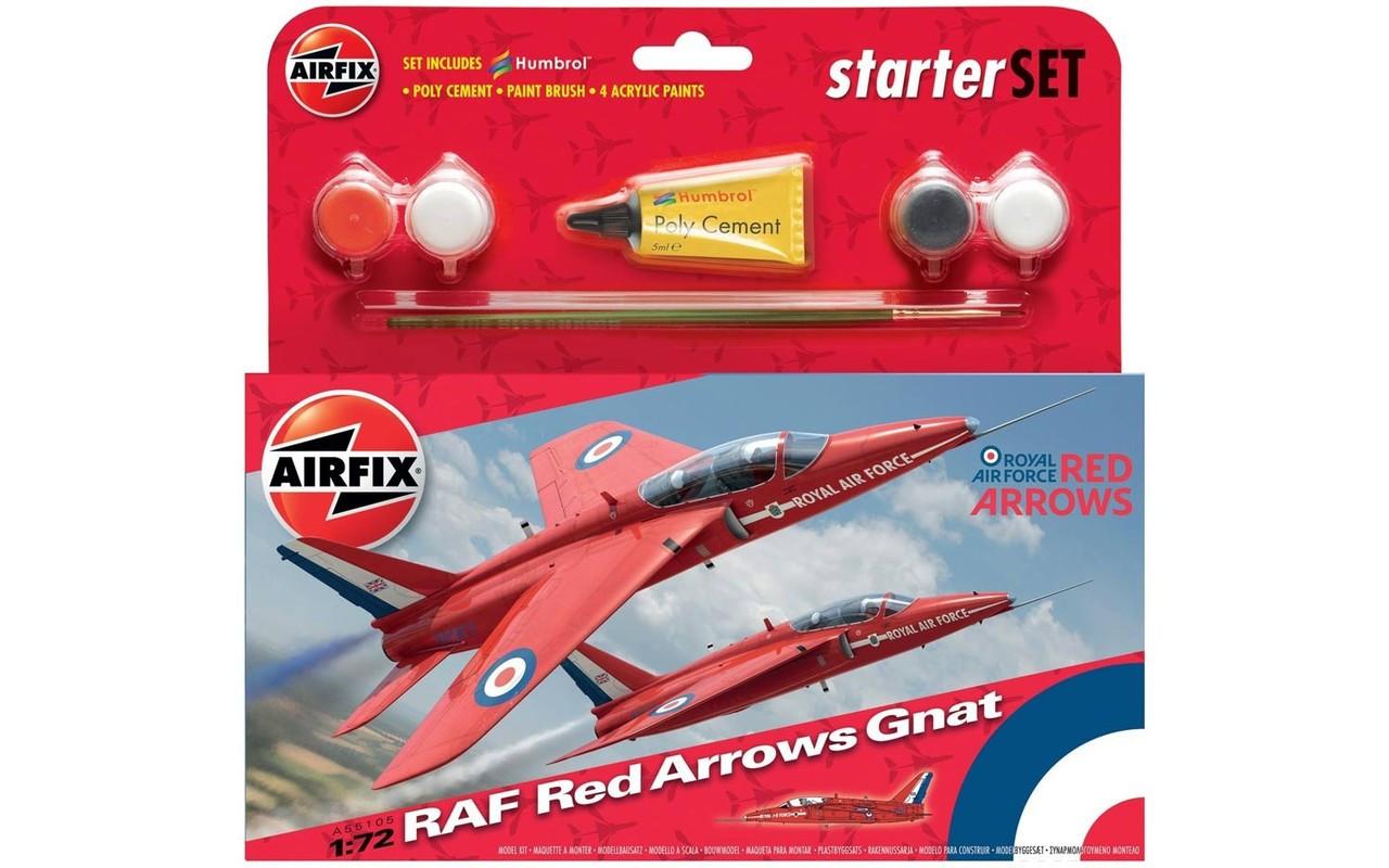 Airfix A55105 Airfix RAF Red Arrows Gnat Starter Set 1:72 Scale Model Kit