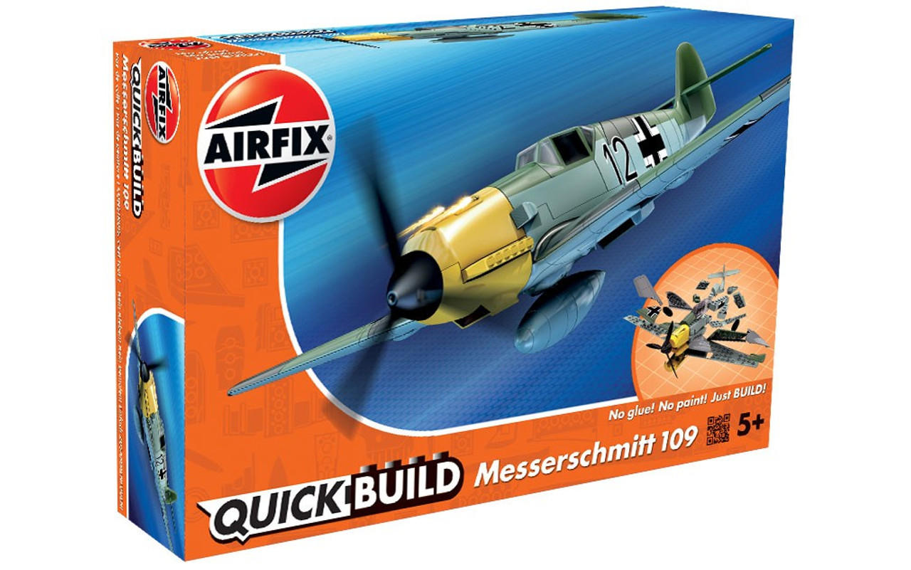 Messerschmitt Bf109e was a fighter aircraft that could excel in speed just as fast as the Spitfire! Complete your final model with the Balkenkreuz stickers provided, the emblem of the German Armed Forces in World War II. This model has a total of 36 parts with 3 additional parts for the stand. The height of the model when placed on the stand is 114 mm.  Airfix QUICK BUILD is an exciting range of simple, snap together models suitable as an introduction to modelling for kids (ages 5 and up), or as a bit of construction fun for the more experienced modeller.  The pre-coloured pieces simply push together, without glue or paints, to build an impressive model which can then be decorated with the included self-adhesive stickers. Plane models also come with their own display stand to show off your handiwork!
