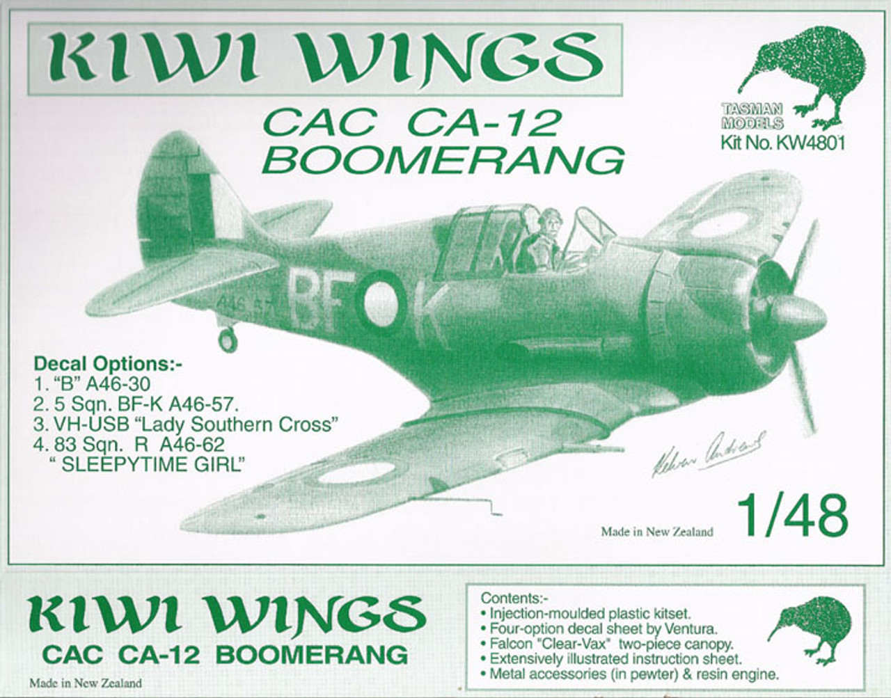 Kiwi Wings CAC CA-12 Boomerang Kit 1:48 (KW4801)