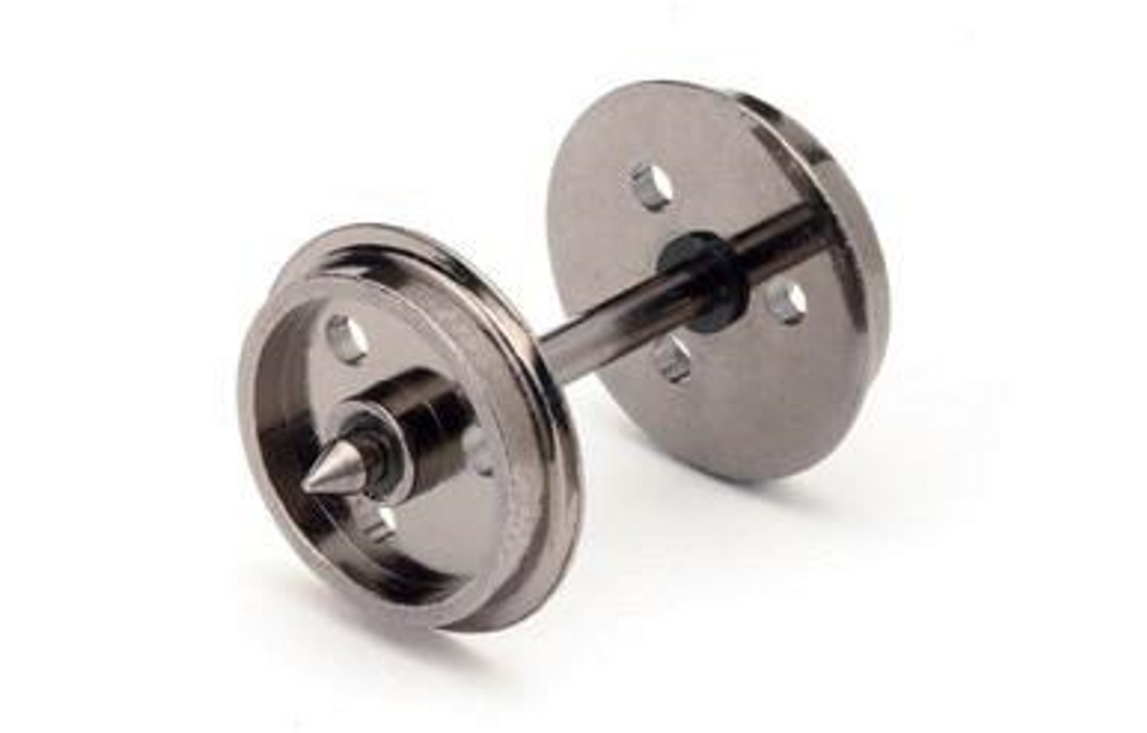 Hornby R8097 12.6mm Diameter Metal 3 Hole Disc Wheel/Axle Set Quantity 10 Model Railway Spares