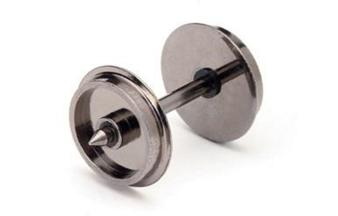 Hornby R8096 12.6mm Diameter Metal Disc Wheel/Axle set Qty 10 Model Railway Spares